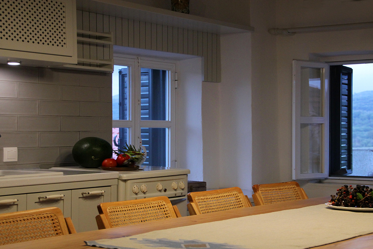 Refurbishment of a Rural House in Veligosti, Arcadia - Dining area and kitchen